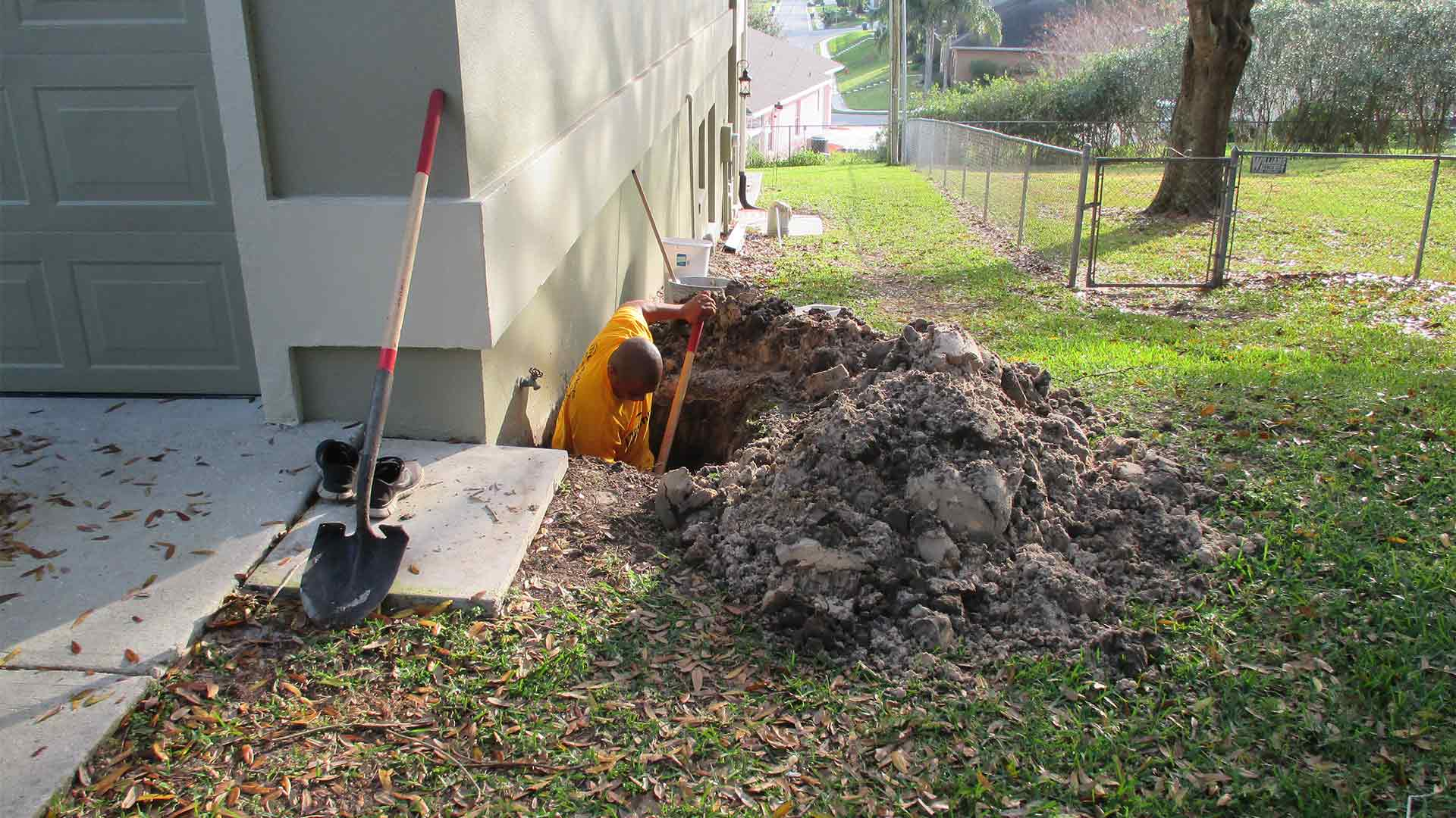 Repiping under a cement slab foundation at a home in Plant City, FL