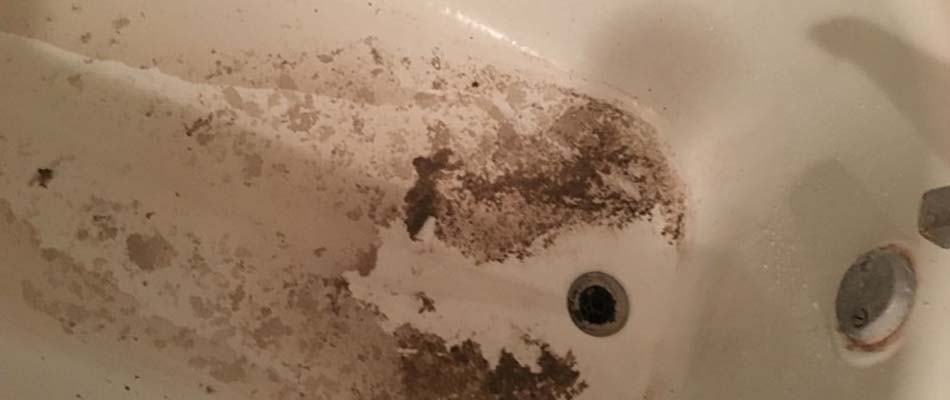 Dirty water stains from a sewer backup in Plant City, FL.