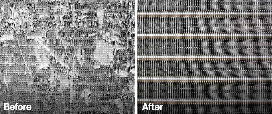 Before and after photos of ac repair services at a home in Plant City, FL.