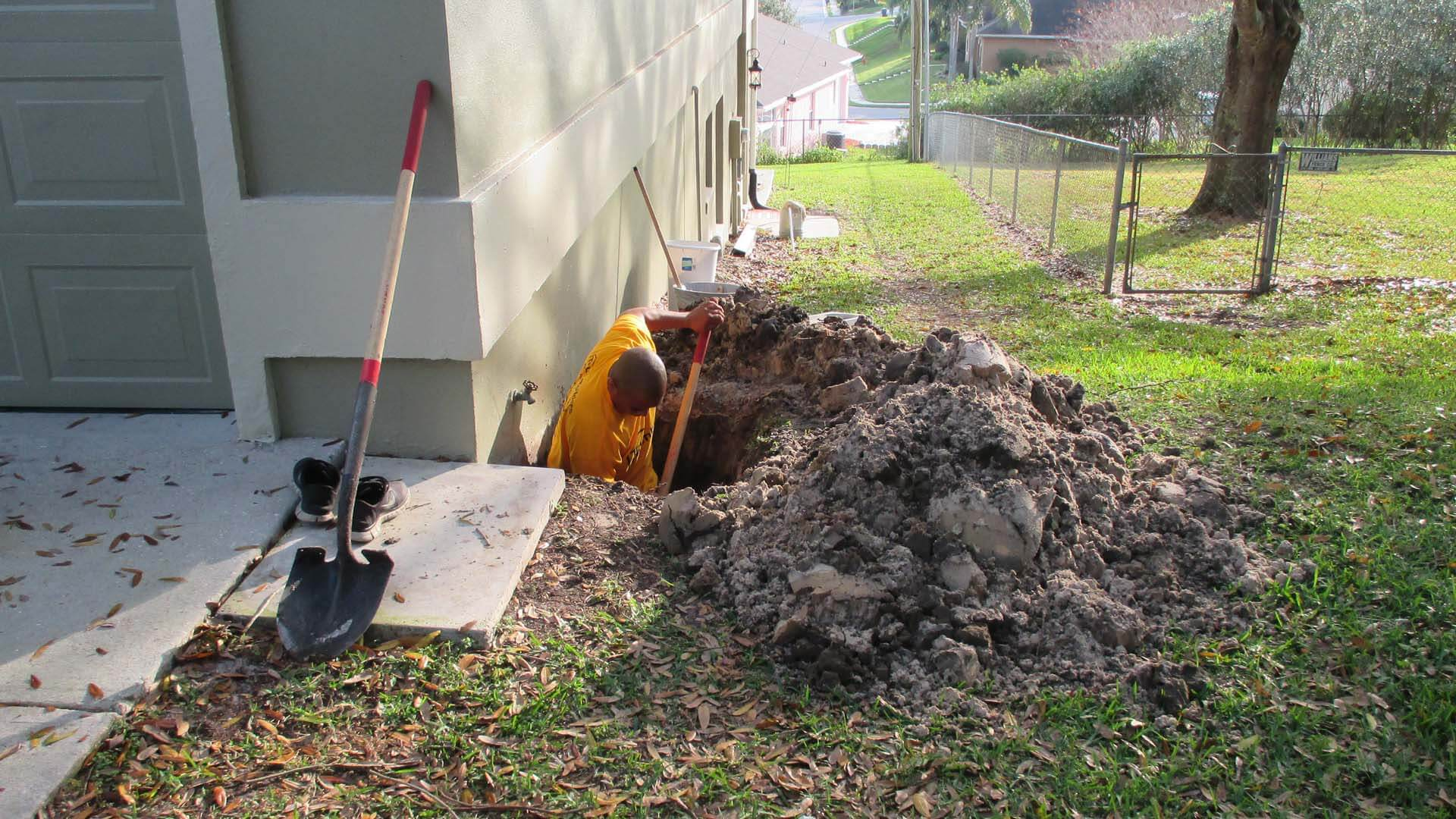 Underground repiping service for plumbing at home in Lakeland, FL.